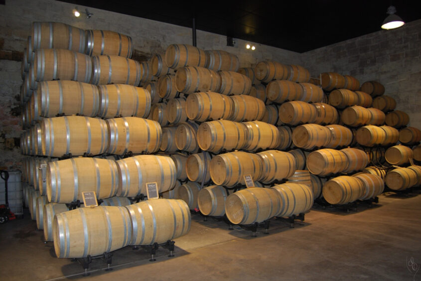 Grand Cru Experience barrels in the winery in Bordeaux