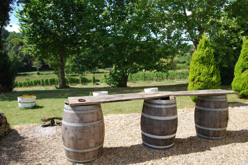 Garden Table Made from winebarrels Grand Cru Experience